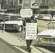 African-American protestor on Main Street, Columbia