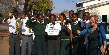 Berkeley admissions officer Lin Larson at right with students in Zimbabwe