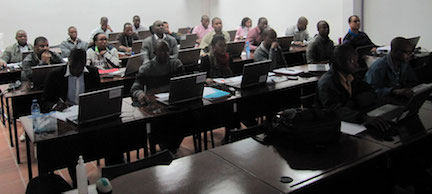 Students taking Dr. Heinze's class in Mozambique