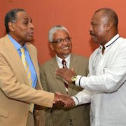 H. Carl McCall (left) meeting with UWI vice chancellor Nigel Harris (center), and Hillary Beckles (right), incoming vice chancellor